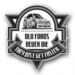 Koolart OLD FORDS NEVER DIE Motif For Retro Mk4 Ford Escort RS Turbo RST External Vinyl Car Sticker Decal Badge 100x100mm